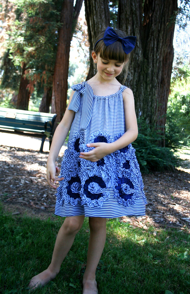Stripe Swirl Sundress with Shoulder Tie