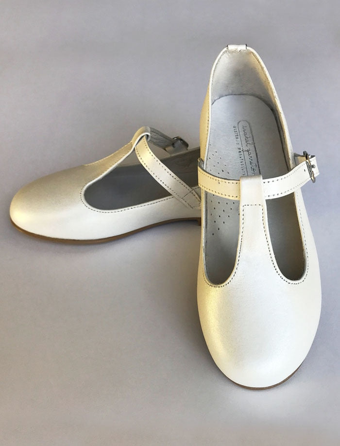 Girls T-Strap White Leather Party Shoe