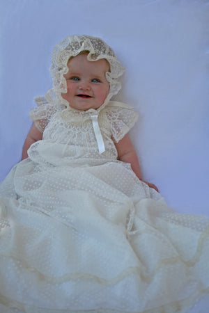 Light Dotted Tulle Christening Gown