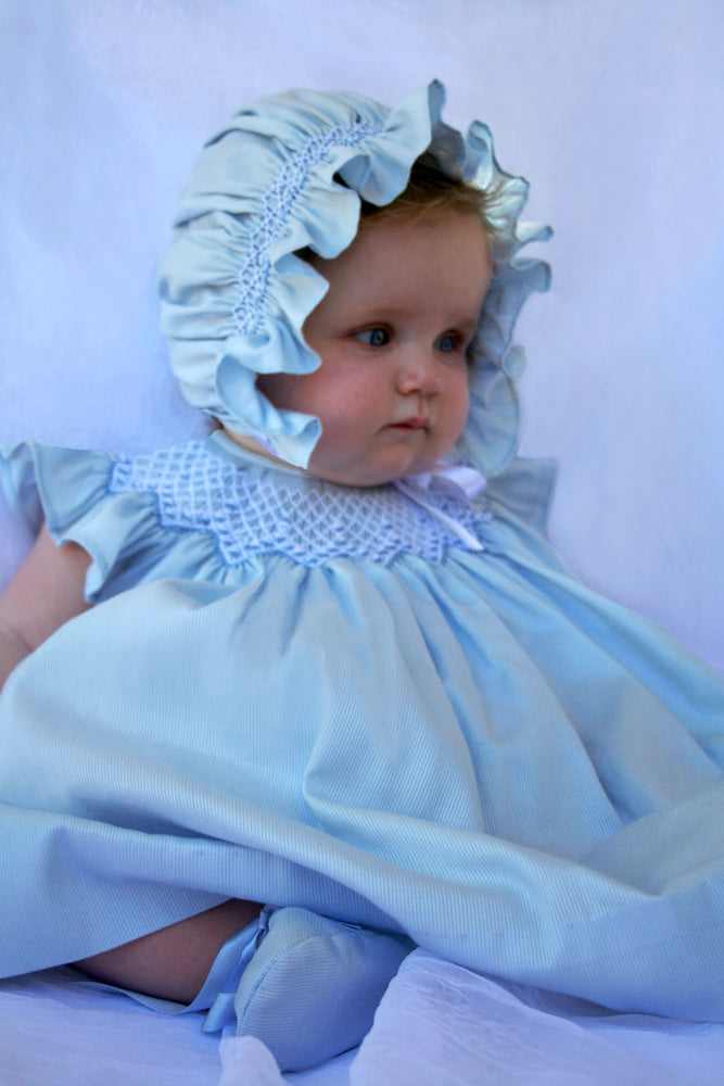 Smocked Bishop & Bonnet in Lt Blue Cotton Pique