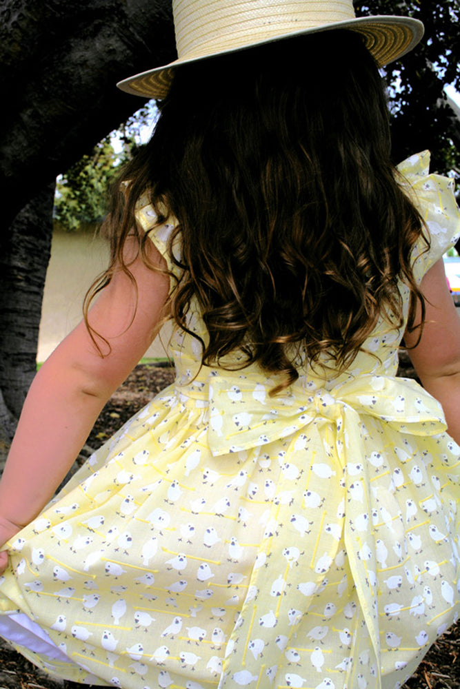 Little Birds Waisted Girls Dress Below Knee