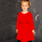 Long Sleeve Corduroy Girls Kitty Face Dress
