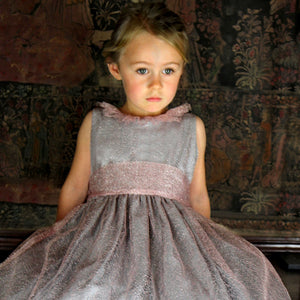 Soft Pink Mesh Big Bow Baby Holiday Party Dress