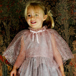 Pink Mesh Ruffle Girls Cape with Velvet Tie