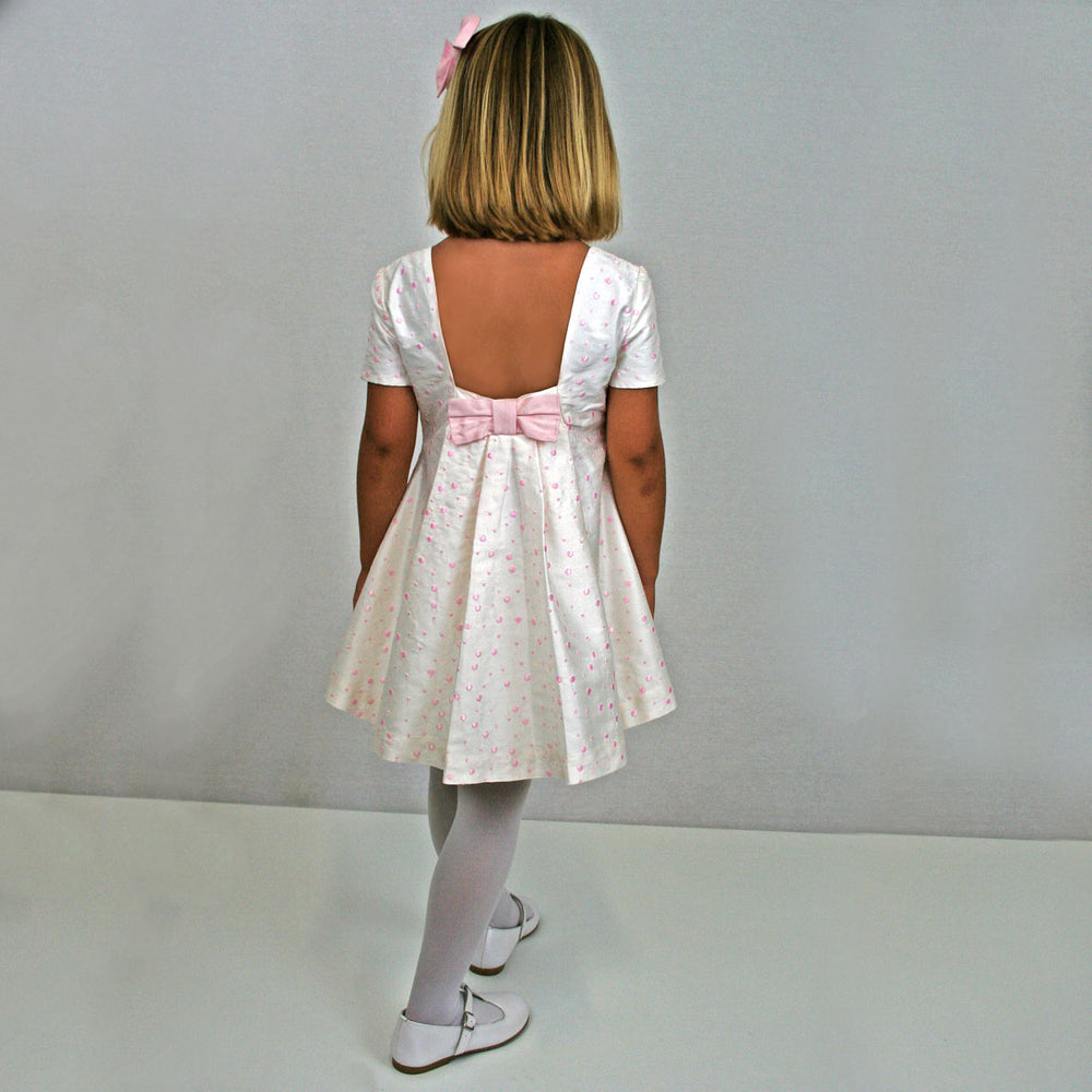 Dance Pink Polka Dot Silk Girls Party Dress