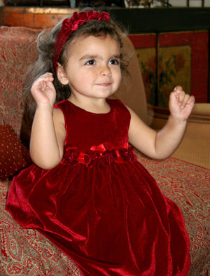 Red Velvet Baby Dress with Rose Sash Detailing
