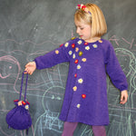 Plum Knit Handbag with Flowers