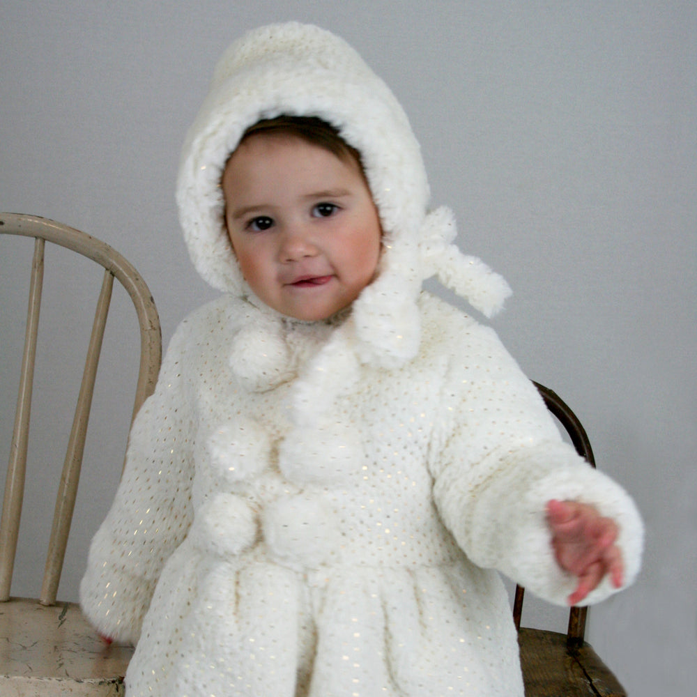 Gold Foil Faux Fur Toddler Coat & Bonnet