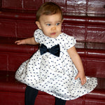 Short Sleeve Striped Organza Baby Dress with Navy Bows