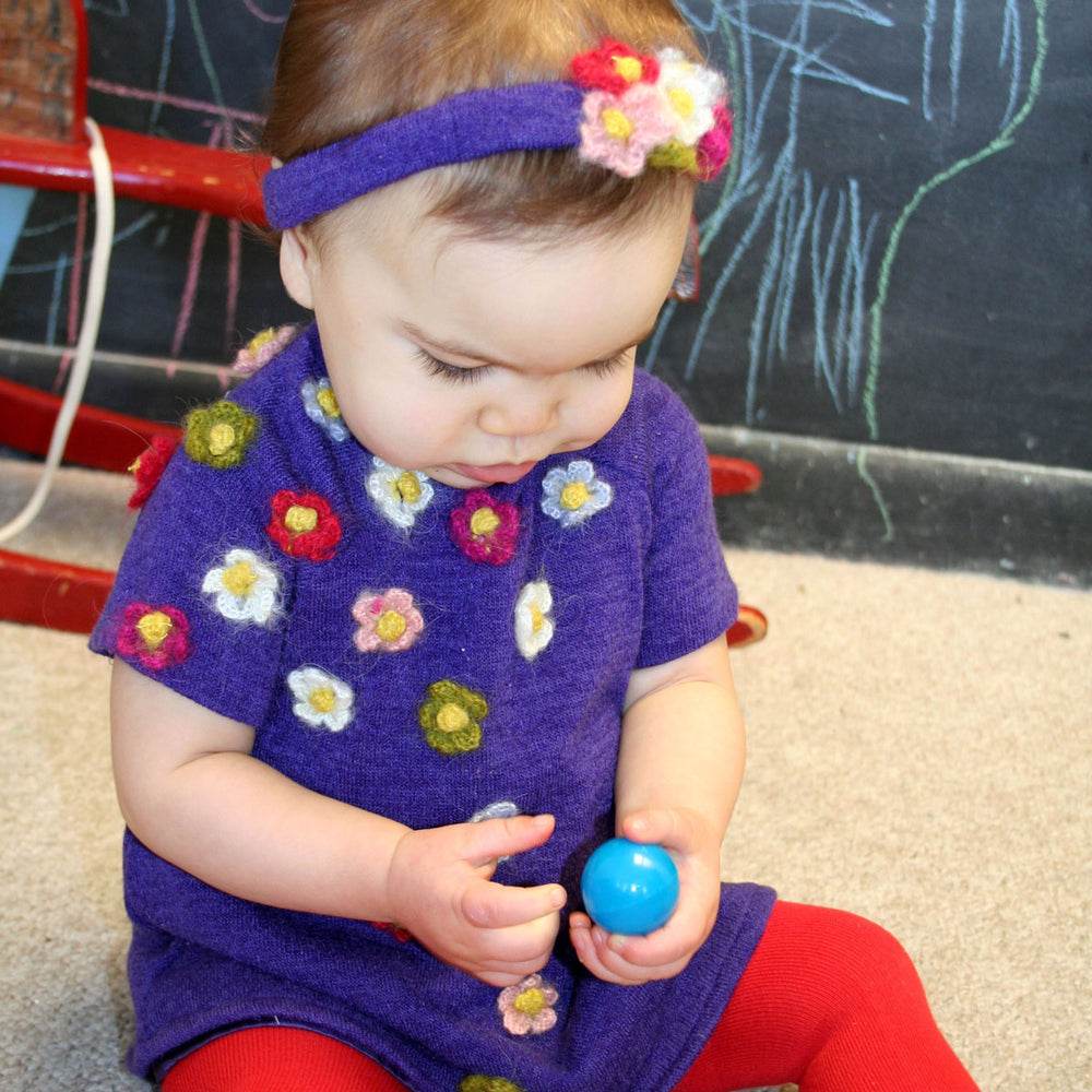 Plum Knit A-Line Baby Dress with Flowers