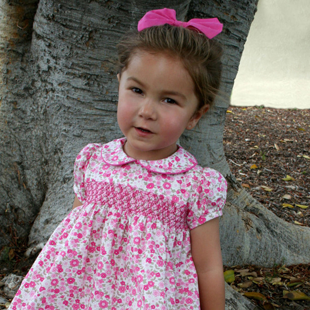 Short Sleeve Smocked Garden Floral Girls Dress