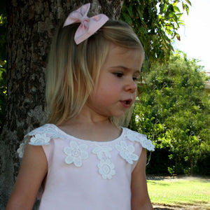 Cotton Sundress with Floral Lace and Back Bow