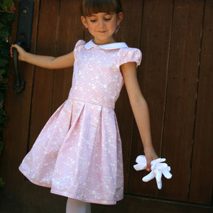 Short Sleeve Daisy Stripe Girls Dress Below Knee