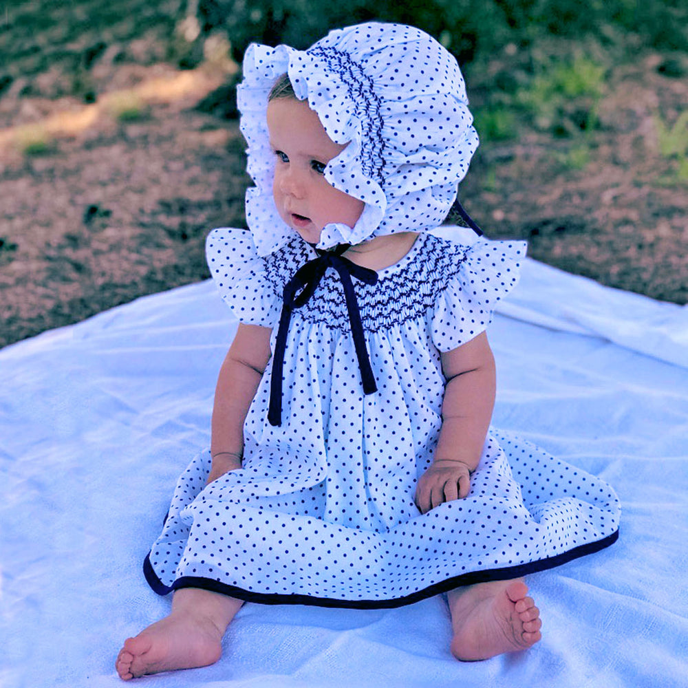 Cotton Navy Polka Dot Baby Bishop