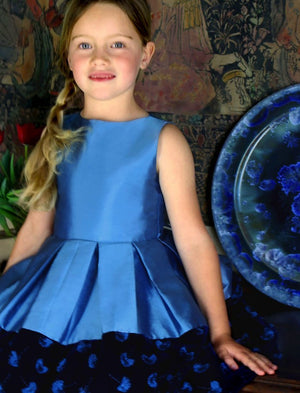 Taffeta Girls Holiday Dress with Velvet Hem Detail