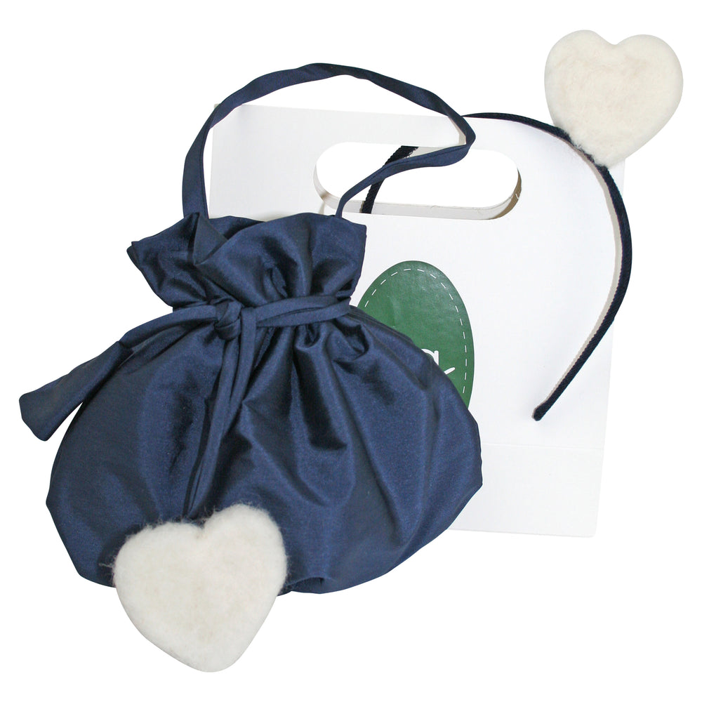 Gift Wrapped Ivory Heart Headband & Handbag Set