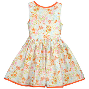 V-back Girls Dress in Summer Floral with Orange Trim