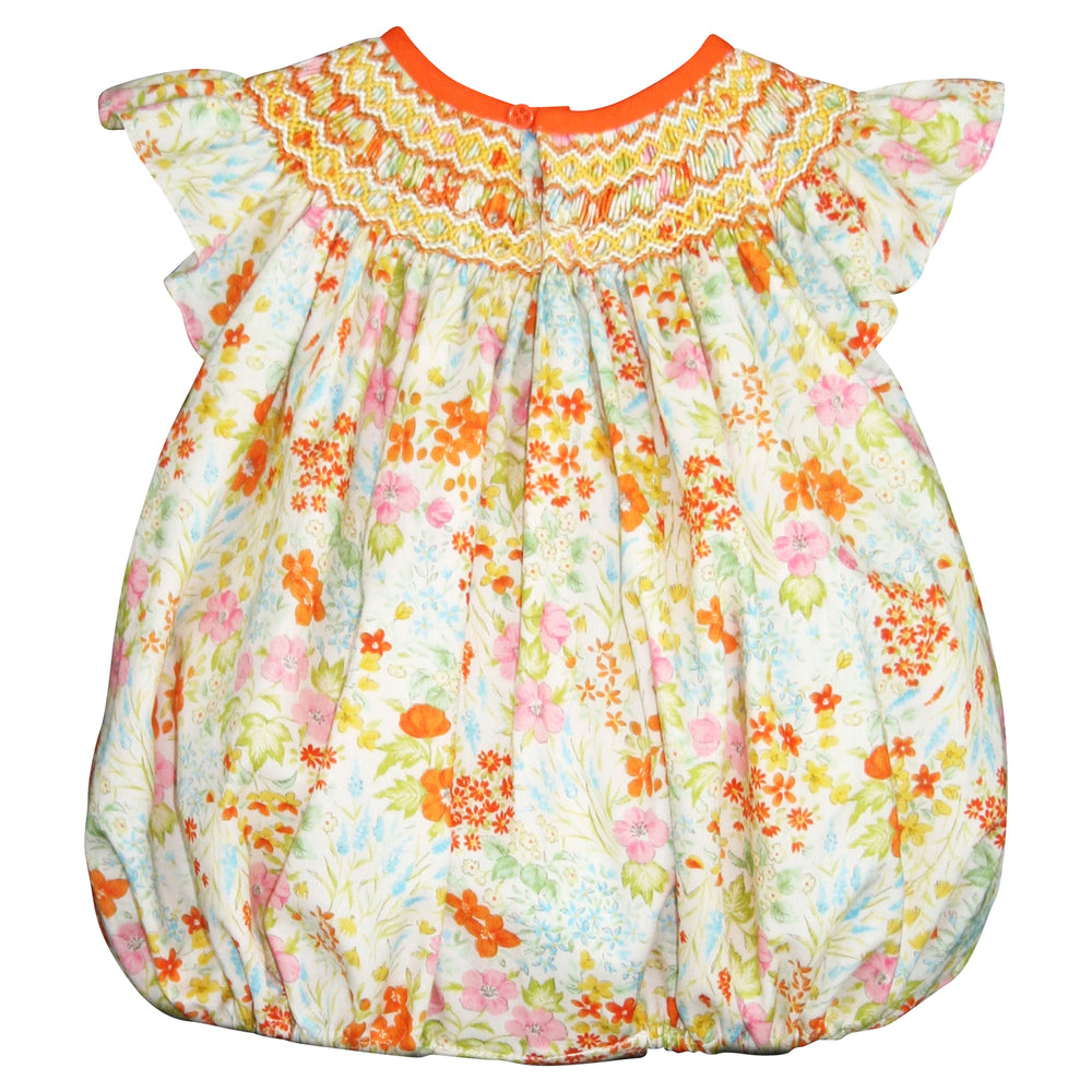 Hand Smocked & Hand Emb Summer Floral Bubble