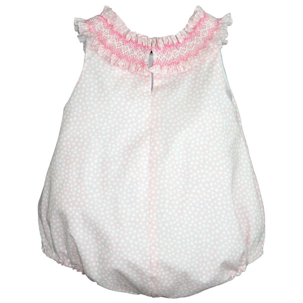Pink Smocked Ruffle Collar Bubble