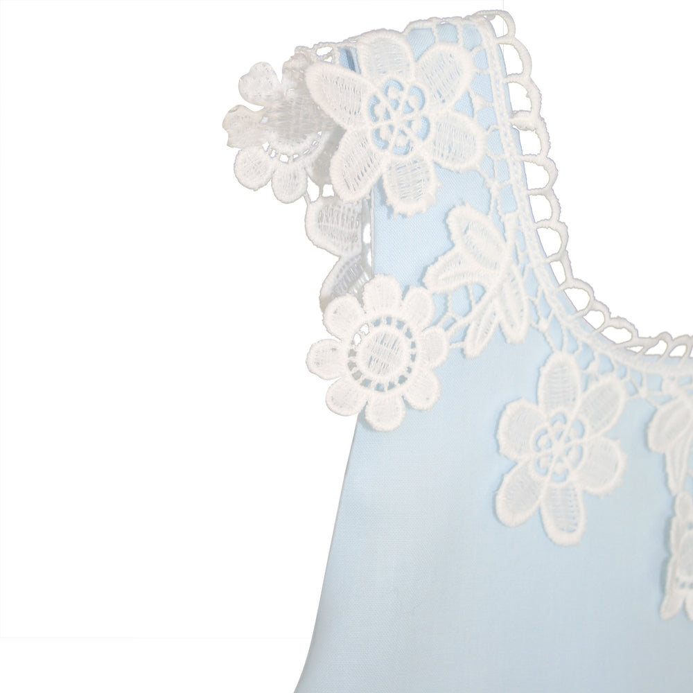 Light Blue Cotton Sundress with Floral Lace and Back Bow