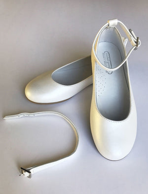 Two Way Girls Party Shoe in White Leather