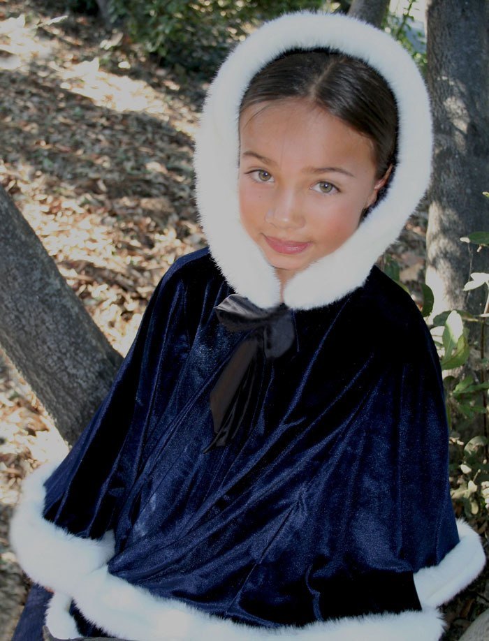 Hooded Girls Velvet Cape in Midnight Blue with Winter White Faux Fur Trim