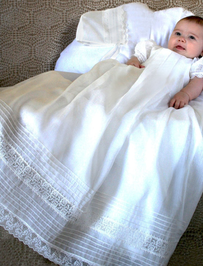 Gracious Christening Gown in Pleated Organdy & Bonnet