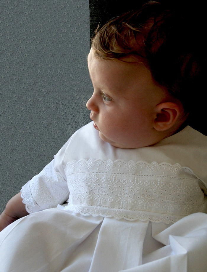 Heritage Cotton Christening Gown & Bonnet
