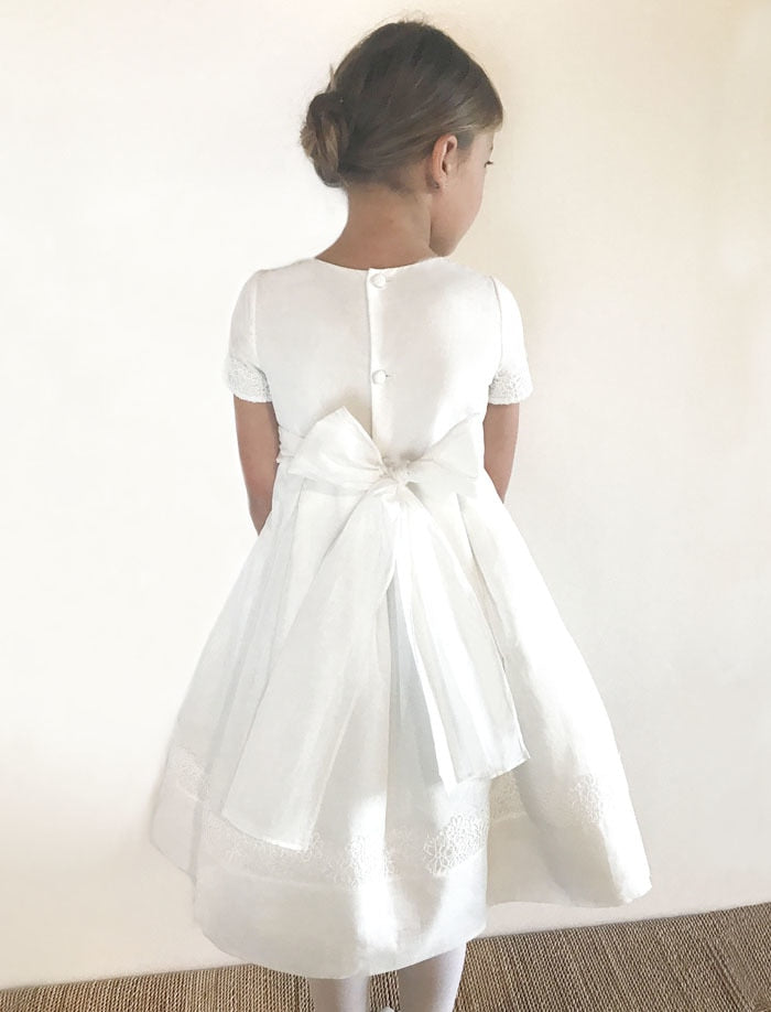 Poetry Cap Sleeve Organdy & Lace Girls Dress