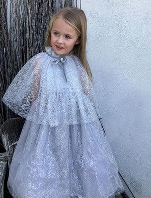 Soft Silver Mesh Big Bow Girls Dress Mid-Calf