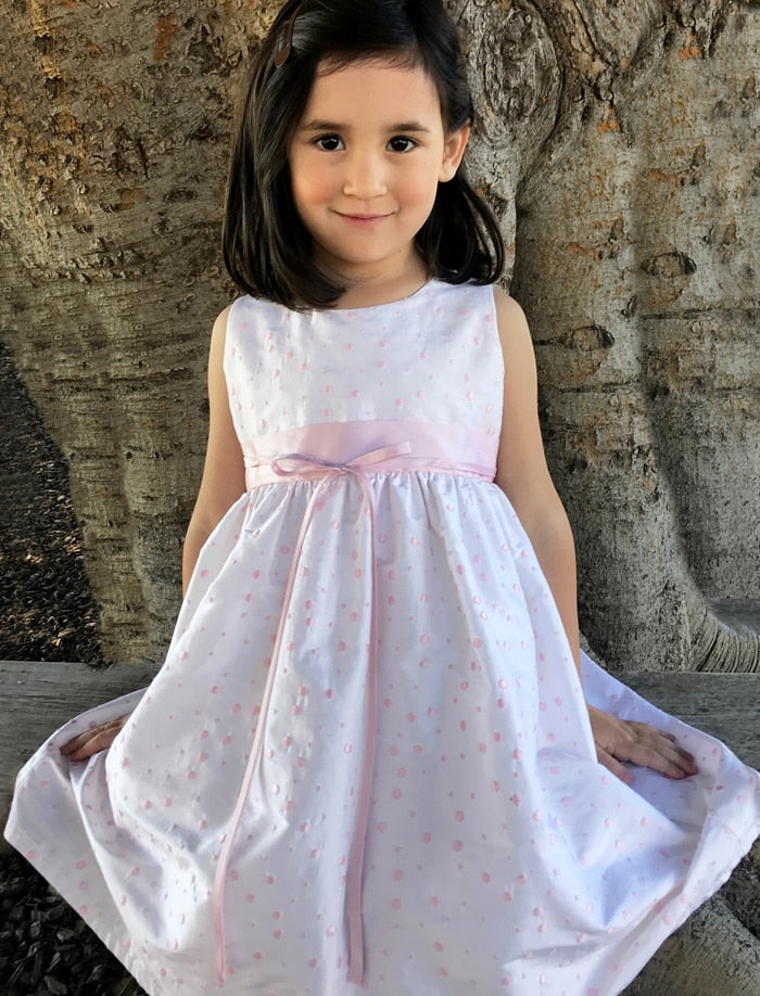 Pink Dots Silk Girls Dress