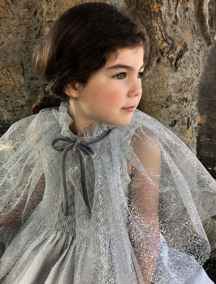 Silver Mesh Ruffle Girls Cape with Velvet Tie