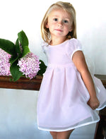 Beloved Hand Embroidered Flowers Organza Girls Dress with Short Sleeves