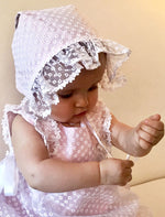 Girly Eyelet Organza Flowers Baby Bonnet