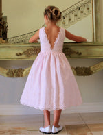 Mirage Cotton Lace Girls V-back Dress with Organza Bow