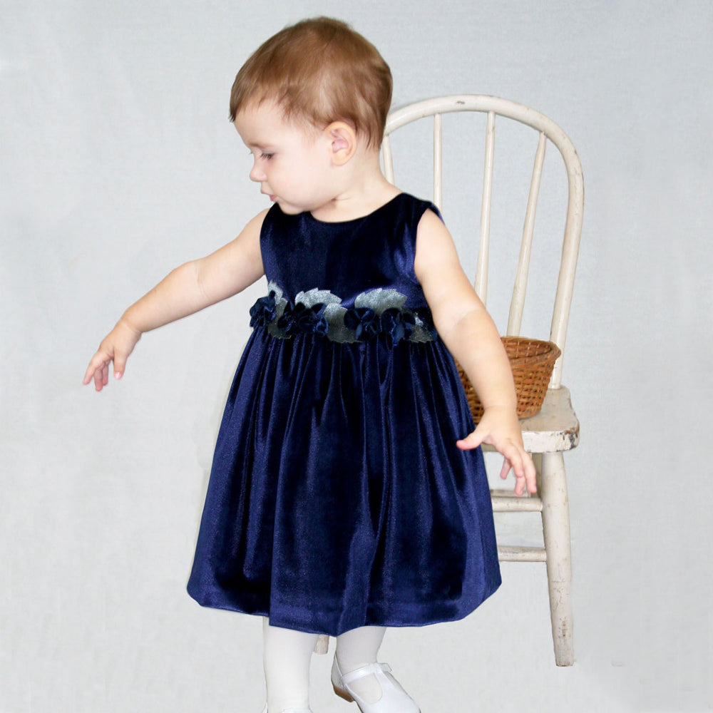 Navy Velvet Baby Dress with Rose Sash Detailing