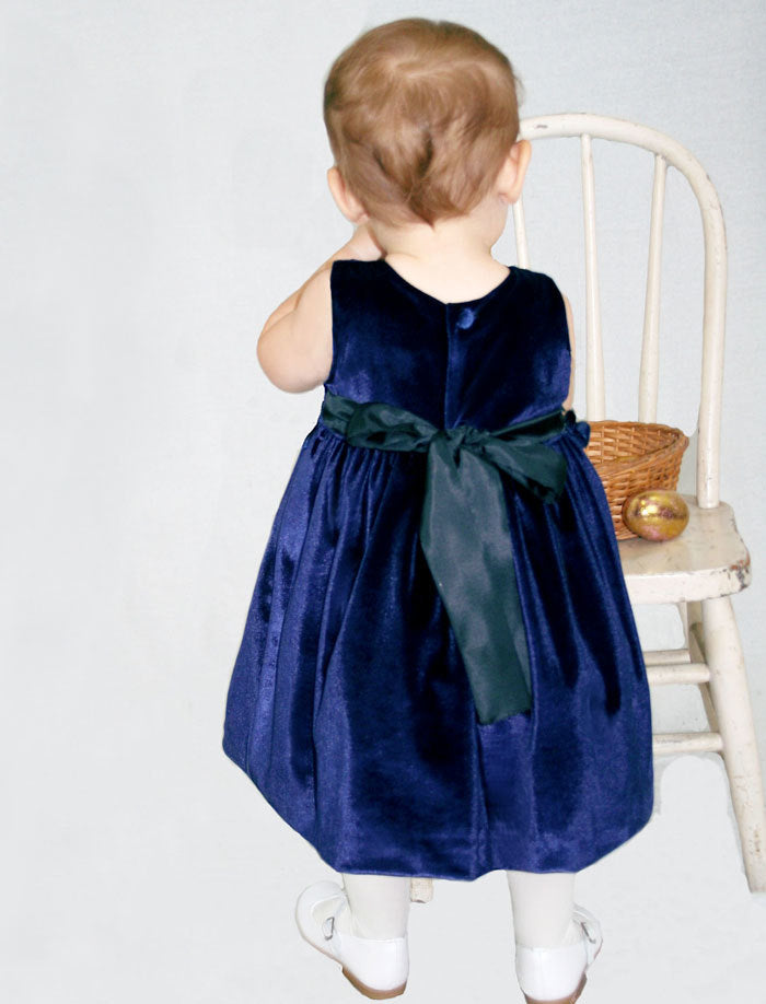 Navy Velvet Girls Dress with Rose Sash Detailing