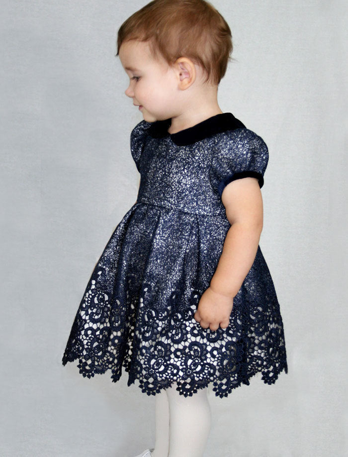 Short Sleeve Wide Skirt Lined Mesh Baby Holiday Party Dress