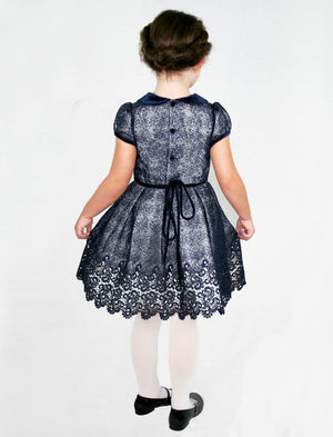 Short Sleeve Wide Skirt Lined Mesh Girls Holiday Party Dress