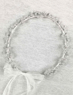 Pearl Crown with Organza Ribbons