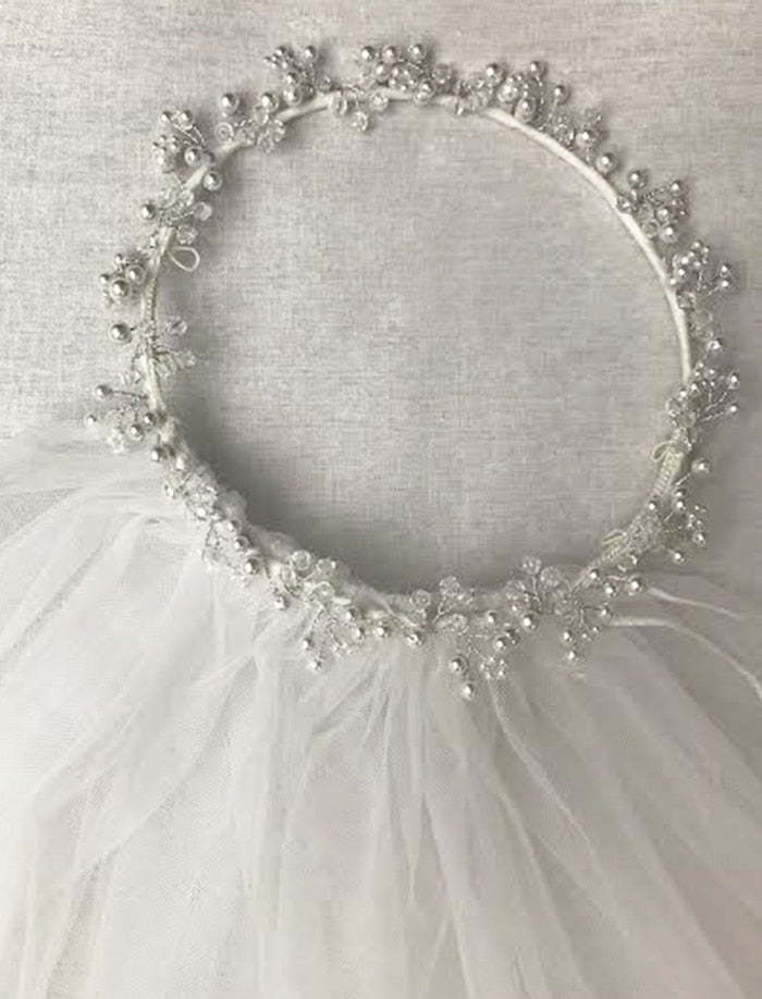 Pearls Halo Girls Double Veil
