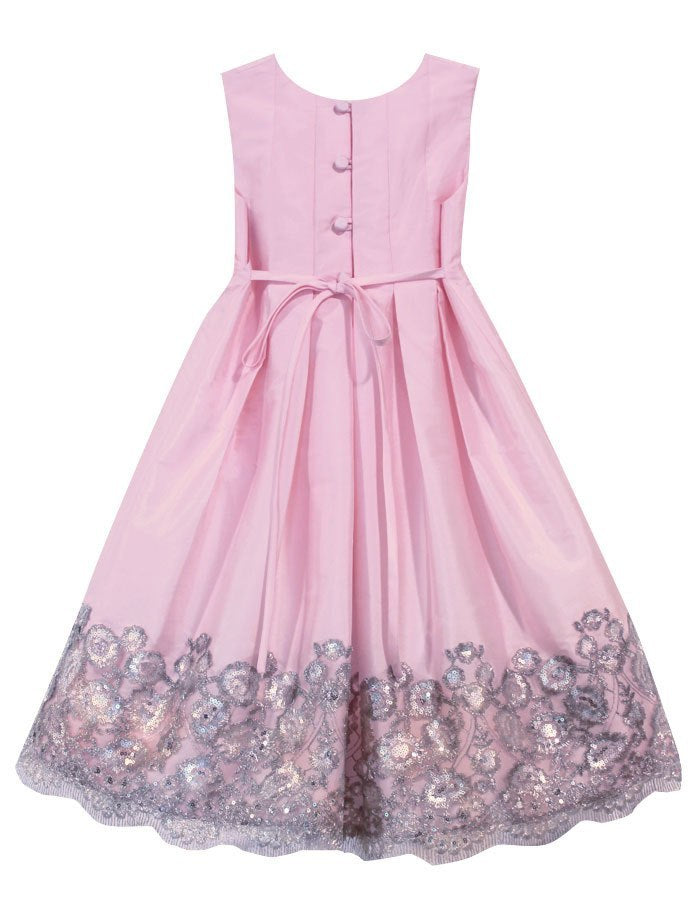 Tucked Bodice Girls Dress with Floral Sequins Hem