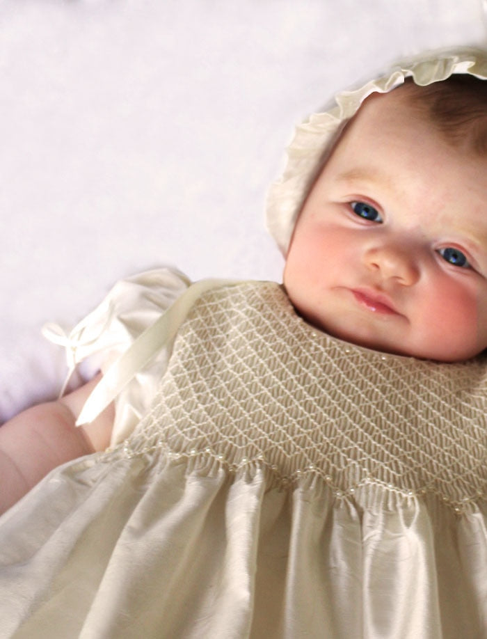 Pearls Christening Gown & Bonnet