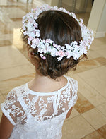 Girls Floral Halo White and Pink