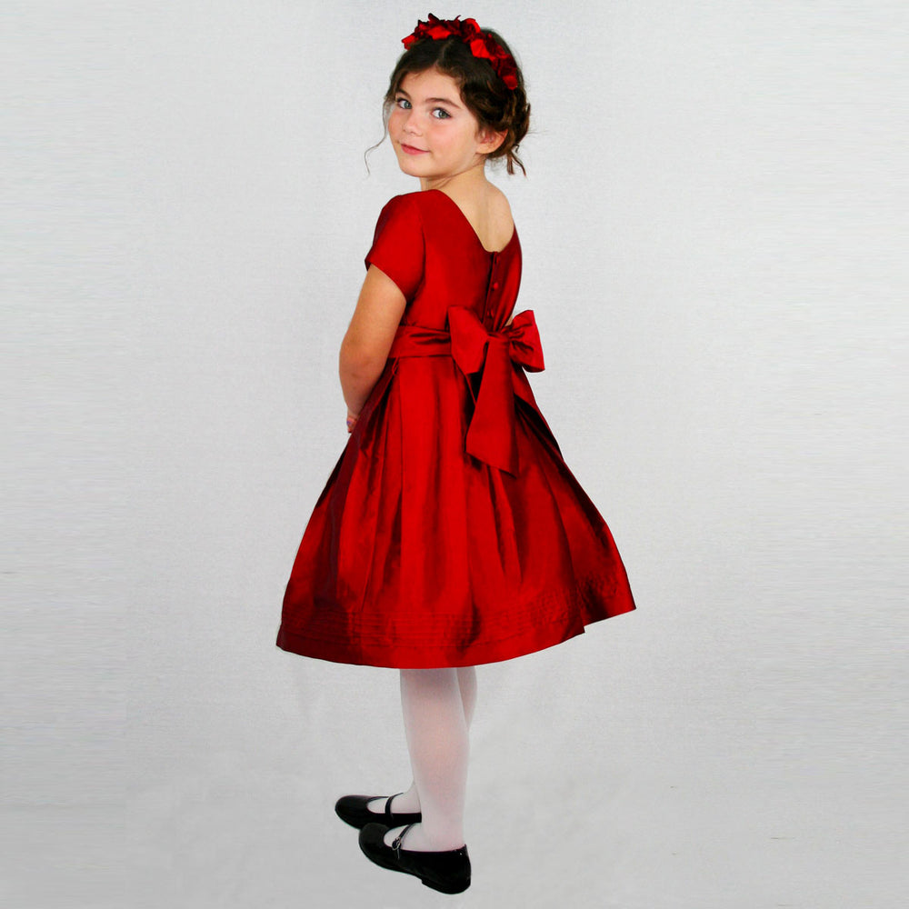 Pintuck Cap Sleeve Taffeta Girls Party Dress