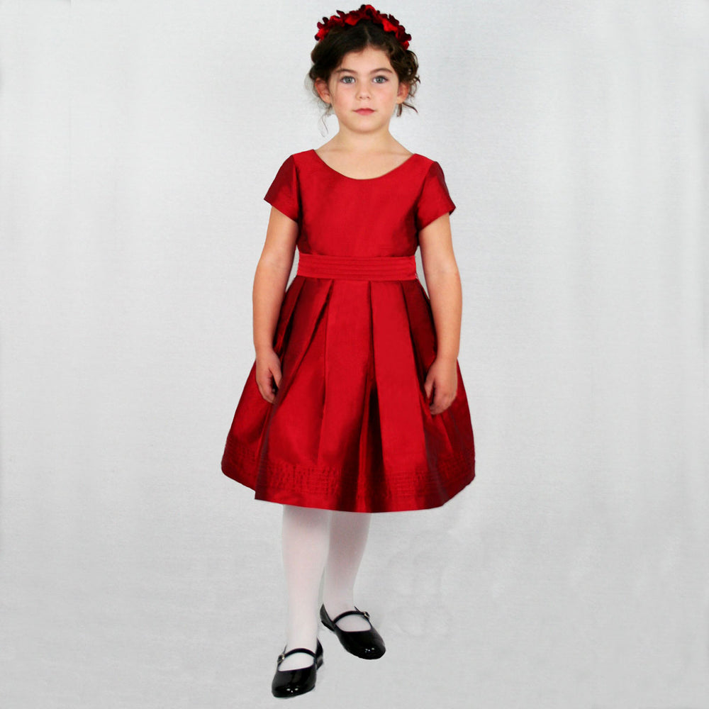 Pintuck Cap Sleeve Taffeta Girls Holiday Party Dress