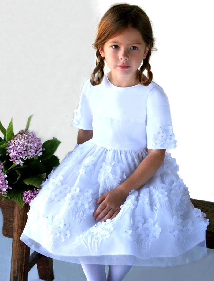Bliss Half Sleeve Hydrangea Tulle & Cotton Girls Dress