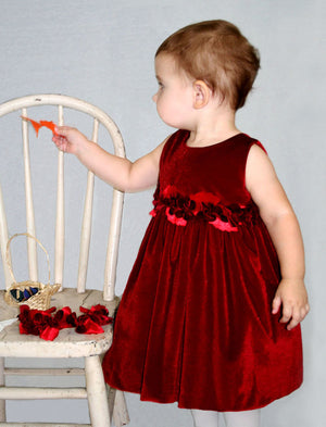 Red Velvet Girls Dress with Rose Sash Detailing
