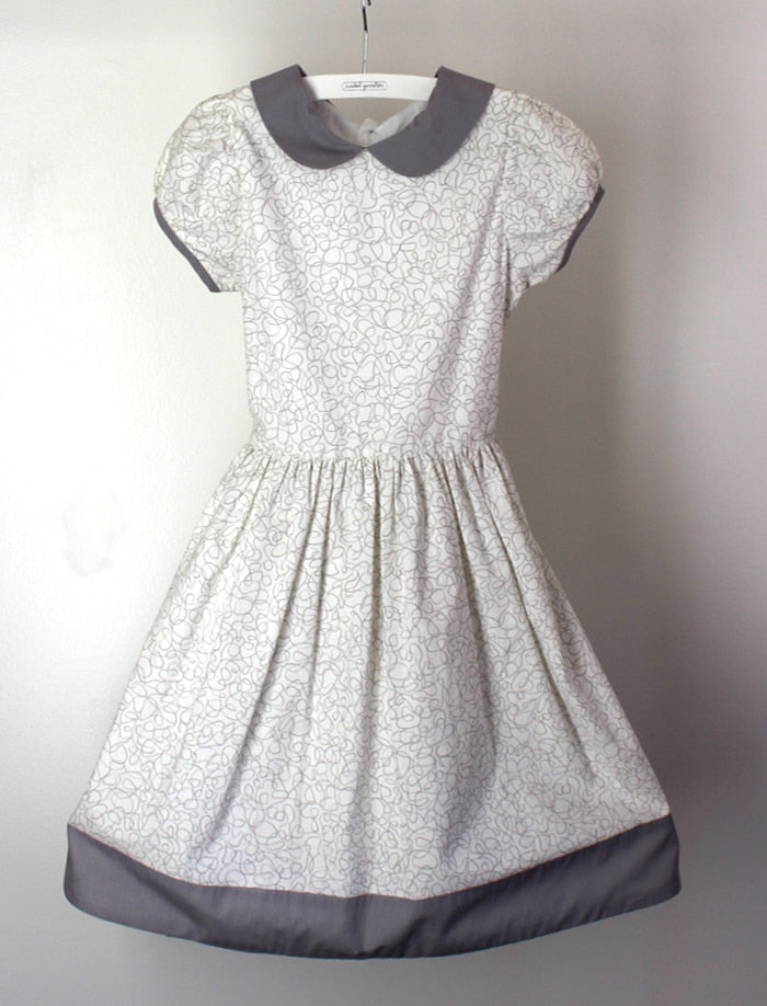 Grey Squiggles Cotton Waisted Short Sleeve Dress with Peter Pan Collar Size 2T