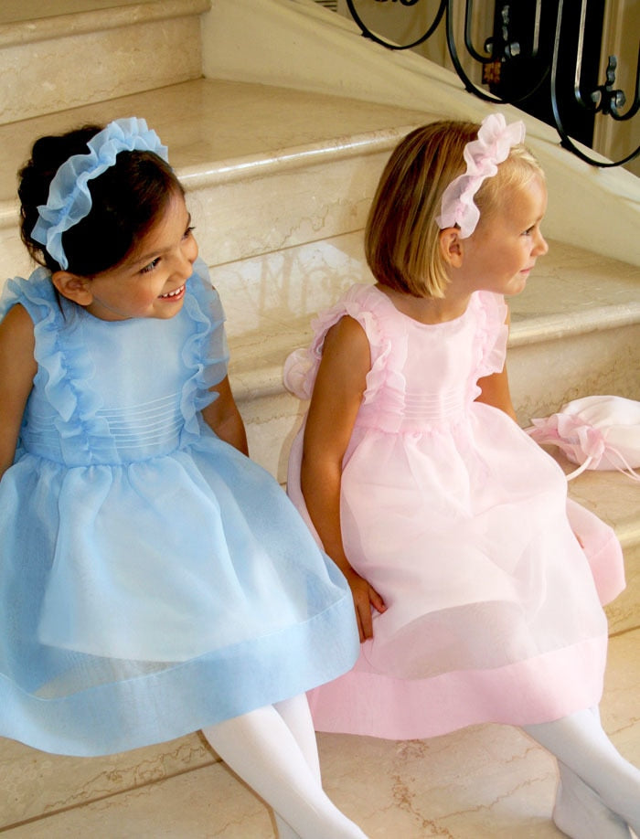 Meringue Organza Ruffle Girls Dress Mid-Calf Length